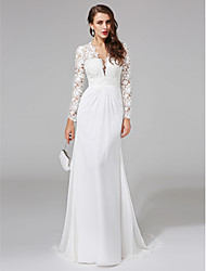 cheap -Sheath / Column Wedding Dresses V Neck Sweep / Brush Train Chiffon Floral Lace Long Sleeve Romantic Boho Illusion Sleeve with Lace Button 2020 / Royal Style
