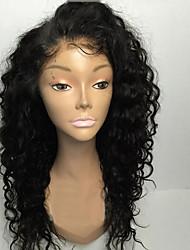 Недорогие -Натуральные волосы Лента спереди Парик Боковая часть Rihanna стиль Бразильские волосы Кудрявый Природа Черный Парик 130% Плотность волос 8-30 дюймовый / Природные волосы / с детскими волосами