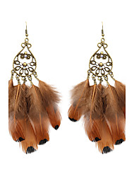 cheap -Drop Earrings Rhinestone Feather Earrings Jewelry Brown For Wedding Party Daily Casual Sports