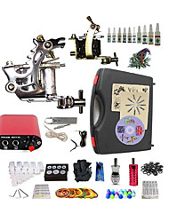 cheap -BaseKey Tattoo Machine Starter Kit - 2 pcs Tattoo Machines with 10 x 5 ml tattoo inks Mini power supply Case Included 2 steel machine liner & shader