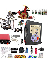 cheap -BaseKey Tattoo Machine Starter Kit - 2 pcs Tattoo Machines with 10 x 5 ml tattoo inks Mini power supply Case Included 1 steel machine liner & shader, 1 alloy machine liner & shader