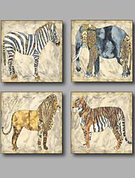 Недорогие -Отпечатки на холсте Абстракция Животное Modern,4 панели Холст Квадратная Печать Искусство Декор стены For Украшение дома
