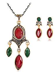 cheap -Jewelry Set Ladies Luxury Vintage Bohemian Boho Resin Rhinestone Gold Plated Earrings Jewelry Red / Green / Blue For Party Special Occasion / Imitation Diamond
