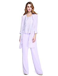 cheap -Sheath / Column Pantsuit / Jumpsuit Mother of the Bride Dress Wrap Included Jewel Neck Floor Length Chiffon 3/4 Length Sleeve with Sequin 2020