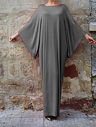 cheap -Women's Party Daily Going out Batwing Sleeve Maxi Loose Dress - Solid Colored Summer Black Dark Gray Gray L XL XXL