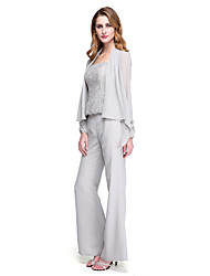 cheap -Sheath / Column / Pantsuit / Jumpsuit Straps Floor Length Chiffon Long Sleeve Wrap Included Mother of the Bride Dress with Pleats / Beading 2020