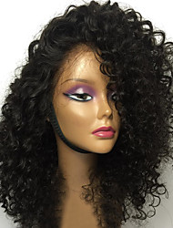cheap -Human Hair Unprocessed Human Hair Glueless Lace Front Lace Front Wig style Brazilian Hair Curly Wig 130% Density 12-26 inch with Baby Hair Natural Hairline African American Wig 100% Hand Tied Women's