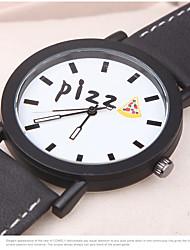 Недорогие -Жен. Модные часы Кварцевый Кожа Черный / Белый Аналоговый Кулоны На каждый день Часы с текстом - Белый Черный