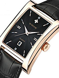 cheap -WWOOR Men's Wrist Watch Quartz Leather Black / Brown 30 m Calendar / date / day Cool Analog Casual Fashion - Gold Black / Silver White / Brown
