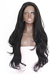 cheap -Synthetic Lace Front Wig Straight Kardashian Style Lace Front Wig Black Natural Black Synthetic Hair 18-26 inch Women's Heat Resistant / Natural Hairline / With Ponytail Black Wig Medium Length / Long