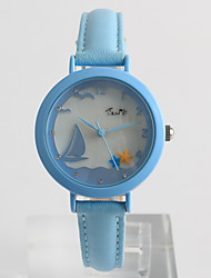 cheap -Women's Wrist Watch Quartz Quilted PU Leather White / Blue / Purple Hot Sale / Analog Ladies Casual Fashion Dress Watch - White Purple Blue One Year Battery Life / Tianqiu 377