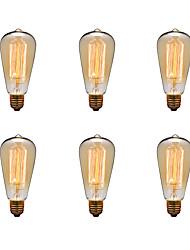 cheap -Ecolight™ 6pcs 40 W E26 / E27 ST64 2300 k Incandescent Vintage Edison Light Bulb 220-240 V