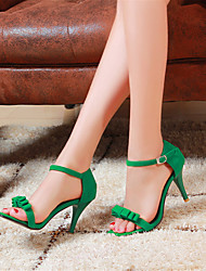 cheap -Women's Sandals Stiletto Heel Open Toe Bowknot / Buckle Velvet Club Shoes Summer Black / Purple / Green