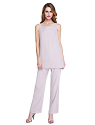 cheap -Pantsuit / Jumpsuit Scoop Neck Ankle Length Chiffon Long Sleeve Elegant & Luxurious / Two Piece / Jumpsuits Mother of the Bride Dress with Pleats 2020