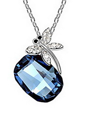 cheap -Crystal Pendant Necklace Single Strand Basic Alloy Dark Blue Purple Light Blue Necklace Jewelry For Daily Casual