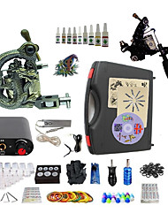 cheap -BaseKey Tattoo Machine Starter Kit, 2 pcs Tattoo Machines with 10 x 5 ml tattoo inks - 1 steel machine liner & shader, 1 alloy machine