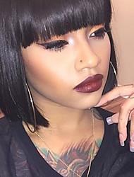 Недорогие -Человеческие волосы Парик Прямой Классика Короткие Прически 2020 Классика Прямой силуэт Машинное плетение Черный Повседневные