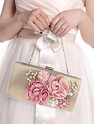 abordables -Femme Imitation Perle / Fleur Polyester Pochette Sacs de mariage A Fleur Noir / Rouge / Fuchsia