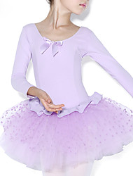 cheap -Ballet Dresses Training Cotton Ruffles / Splicing Long Sleeve Natural Leotard / Onesie
