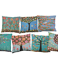 cheap -7 pcs Linen Pillow Cover Pillow Case, Solid Colored Novelty Textured Casual Modern Contemporary Office / Business