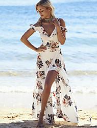 cheap -Off Shoulder Maxi White Dress Summer Beach Loose Deep V White Split Print S M / Floral