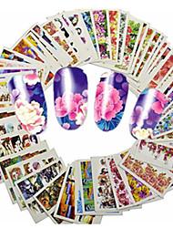 cheap -1set 48pcs mixed lovely cartoon beautiful flower nail art sticker water transfer decals nail beauty tips a145 192