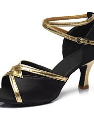 cheap -Women's Dance Shoes Leatherette / Fabric Latin Shoes Buckle Sandal / Heel Cuban Heel Customizable Brown / Red / Blue / Performance
