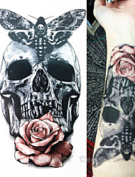 cheap -1-pcs-21-x-15-cm-skull-with-moth-and-flower-cool-beauty-tattoo-waterproof-hot-temporary-tattoo-stickers
