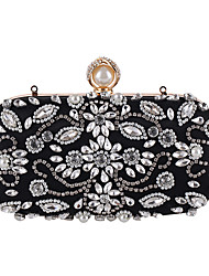 cheap -Women's Crystal / Rhinestone Polyester Evening Bag Black / Almond