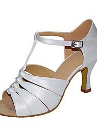 cheap -Women's Latin Shoes / Jazz Shoes / Salsa Shoes Satin Buckle Sandal / Heel Buckle / Ruffles Customized Heel Customizable Dance Shoes Black / Brown / White / Indoor / Performance / Practice / EU41
