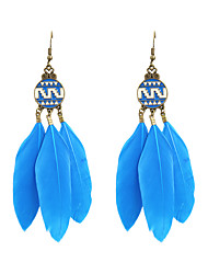 cheap -Drop Earrings Feather Earrings Jewelry Black / Blue For Wedding Party Daily Casual Sports