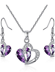 cheap -Women's Synthetic Amethyst Crystal Amethyst Jewelry Set Bridal Jewelry Sets Solitaire Heart Love Ladies European Fashion Crystal Zircon Cubic Zirconia Earrings Jewelry Purple / Blue For Party Daily