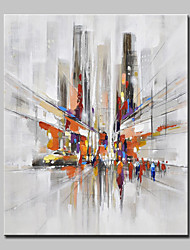 cheap -Mintura® Hand Painted Modern Abstract City Streets Oil Painting On Canvas Wall Art Picture For Home Decoration Ready To Hang