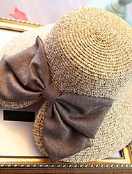 Недорогие -Жен. Праздник Соломенная шляпа Шляпа от солнца Солома,Однотонный Лето Бежевый Темно синий Хаки