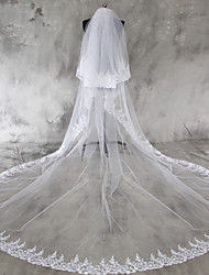 cheap -Two-tier Lace Applique Edge Wedding Veil Chapel Veils / Cathedral Veils with Appliques Lace / Tulle / Angel cut / Waterfall