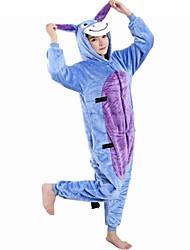 cheap -Kid's Adults' Kigurumi Pajamas Donkey Onesie Pajamas Flannel Toison Blue Cosplay For Boys and Girls Animal Sleepwear Cartoon Festival / Holiday Costumes