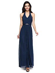 cheap -Sheath / Column Halter Neck Floor Length Chiffon Bridesmaid Dress with Beading / Draping / Sash / Ribbon