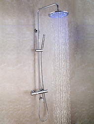 cheap -Contemporary Wall Mounted Handshower Included Thermostatic LED Brass Valve Two Handles Three Holes Chrome , Shower Faucet