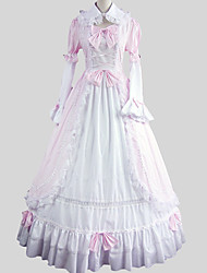cheap -Princess Sweet Lolita Dress Women's Girls' Cotton Japanese Cosplay Costumes Pink Solid Colored Poet Sleeve Long Sleeve Ankle Length / Petticoat
