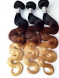 cheap -3 Bundles Brazilian Hair Body Wave Virgin Human Hair Ombre Hair Weaves / Hair Bulk Human Hair Weaves Human Hair Extensions