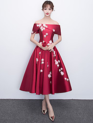 cheap -A-Line Off Shoulder Tea Length Satin Floral / Elegant Cocktail Party / Prom Dress with Appliques 2020