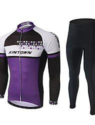 cheap -XINTOWN Men's Long Sleeve Cycling Jersey with Tights Black Patchwork Bike Pants / Trousers Jersey Clothing Suit Breathable 3D Pad Quick Dry Ultraviolet Resistant Reflective Strips Sports Polyester
