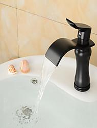 cheap -Bathroom Sink Faucet - Waterfall Oil-rubbed Bronze Centerset Single Handle One HoleBath Taps / Brass