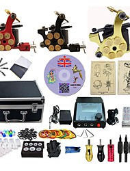 cheap -BaseKey Professional Tattoo Kit Tattoo Machine - 3 pcs Tattoo Machines LED power supply 3 alloy machine liner & shader / Case Included