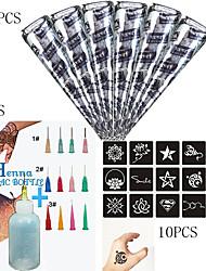 Недорогие -1 pcs Аппликаторы для работы с хной Временные татуировки Водонепроницаемый Искусство тела Лицо / руки / рука