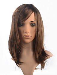 cheap -synthetic fiber wig medium long chestnut brown women wig cosplay costumme wig