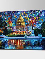 cheap -The White House Oil Paintings Hand Painted Modern Abstract Landscape Canvas Painting Unframed Acrylic Knife Paintings Wall Art With Frame