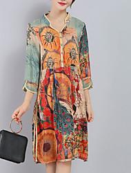 cheap -Women's Plus Size Orange Dress Sophisticated Spring Going out Weekend Loose Geometric V Neck Split Print M L Loose / Silk