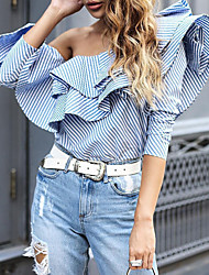 cheap -Women's Party Daily Street chic Butterfly Sleeves Cotton Loose Shirt - Striped Ruffle Off Shoulder Blue / Spring / Fall