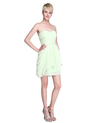 cheap -Sheath / Column Strapless / Sweetheart Neckline Short / Mini Chiffon Bridesmaid Dress with Draping / Criss Cross